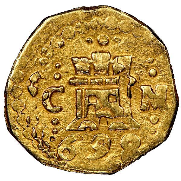 Cuzco, Peru, cob 1 escudo, 1698M, very rare, NGC AU 58, ex-1715 Fleet (designated on special label).