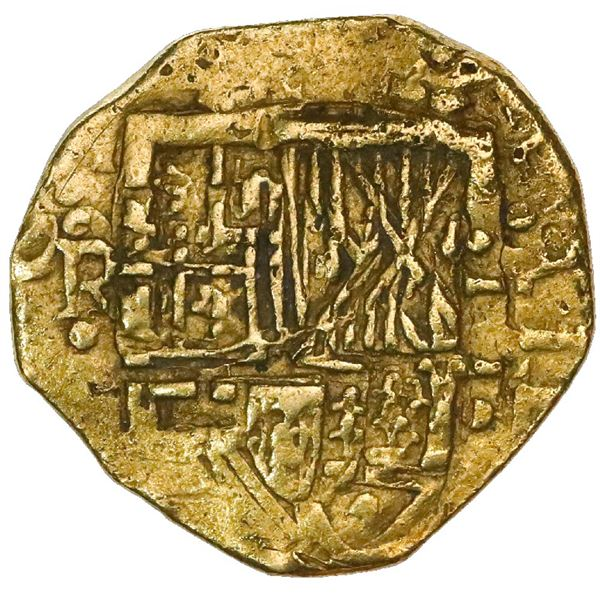 Bogota, Colombia, cob 2 escudos, Philip IV, assayer not visible (R ) below mintmark NR to left, deno