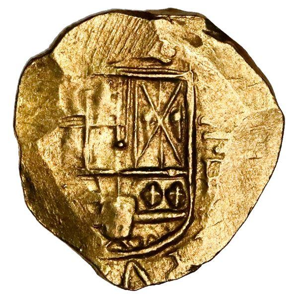 Bogota, Colombia, cob 2 escudos, Philip IV, assayer R below denomination II to right, mintmark NR (n