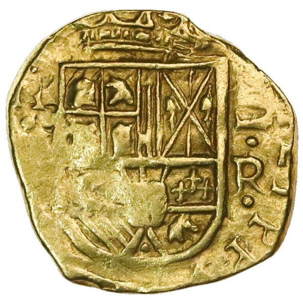 Bogota, Colombia, cob 2 escudos, Philip IV, assayer R below denomination II to right, mintmark N(R)