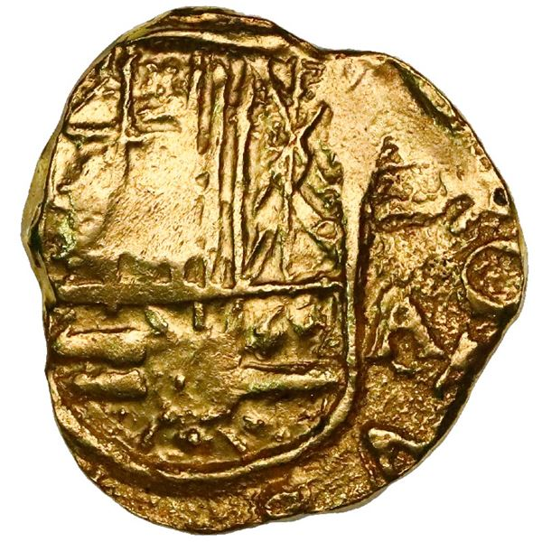 Bogota, Colombia, cob 2 escudos, Charles II, assayer A/G to right (1692), rare, ex-1715 Fleet.