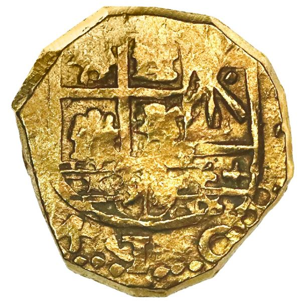 Bogota, Colombia, cob 2 escudos, Charles II and Philip V, no assayer (Arce), very rare type with CAR