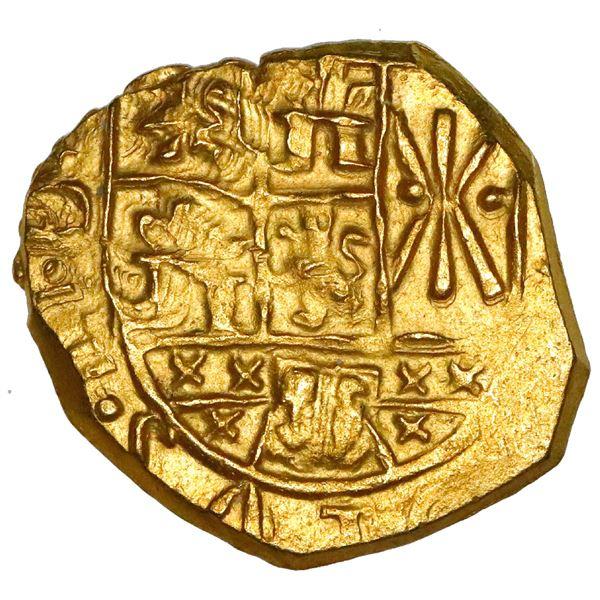 Bogota, Colombia, cob 2 escudos, 1712, no assayer (Arce), posthumous Charles II, NGC MS 64, ex-1715