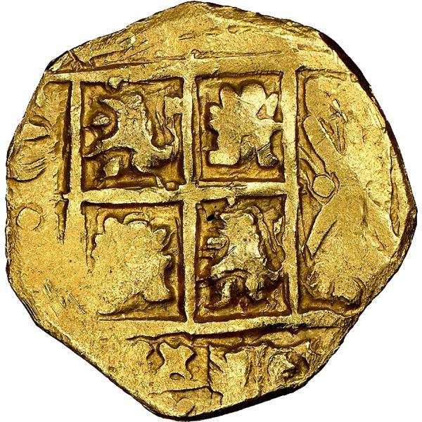 Bogota, Colombia, cob 2 escudos, Charles II posthumous, no assayer (Arce), NGC MS 61, ex-1715 Fleet
