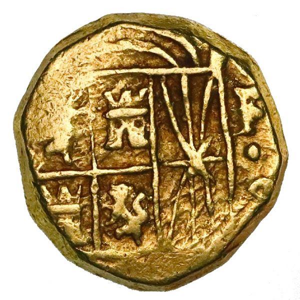 Bogota, Colombia, cob 2 escudos, Ferdinand VI, assayer not visible (S), mintmark F-S to right.