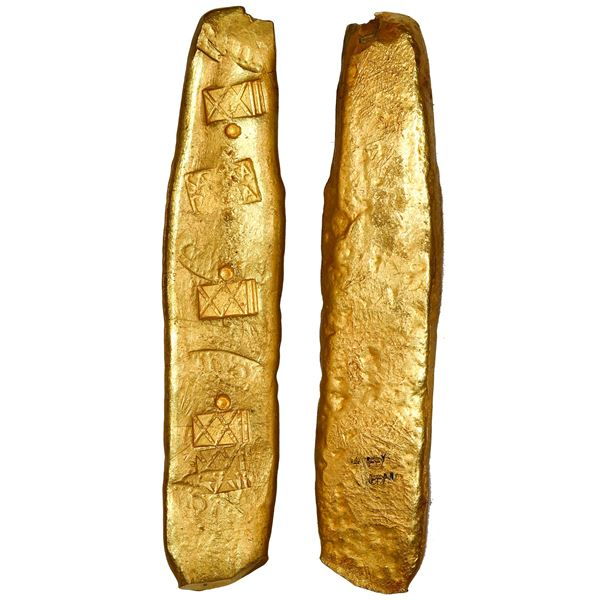 Colombian gold bar, 358 grams, with markings of assayer/foundry SARGOSA / PECARTA, fineness XXII-dot