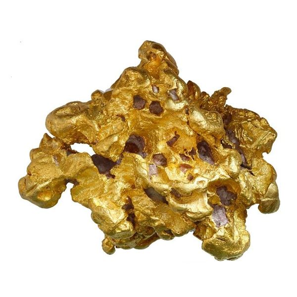 "Large natural gold nugget from Alaska, 411.9 grams, the ""Golden Coral."""