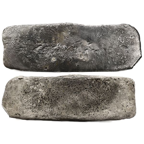 "Silver ""tumbaga"" bar #M-115, 7.08 lb av, marked with finenesses IV IIII (1400/2400) and iUB (1500/24"