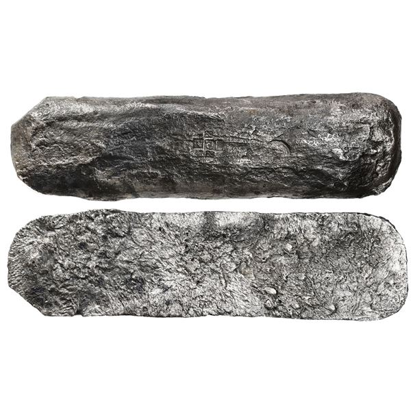 "Silver ""tumbaga"" bar #M-57, 3.28 lb av, marked with fineness IV@L (1550/2400) and partial tax stamp,"