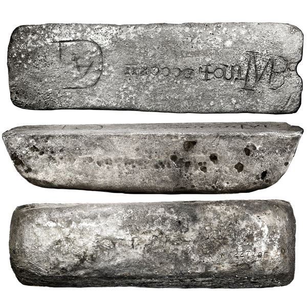 Large silver bar #227 from Oruro, 81 lb 11.04 oz troy, Class Factor 0.8, marked with fineness IIUCCC