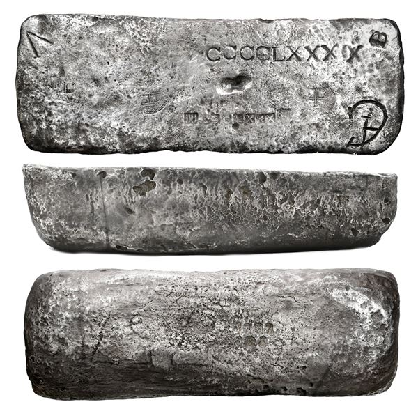 Large silver bar #757 from Potosi, 86 lb 11.2 oz troy, Class Factor 0.8, marked with fineness IIUCCC