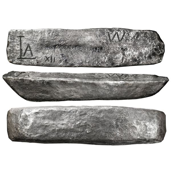 "Silver ingot #506, 60 lb 9.15 oz troy, Class Factor ""4,"" marked with fineness IIUCCCLXXX (2380/2400)"