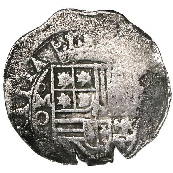 Mexico City, Mexico, cob 2 reales, Philip II, assayer O below mintmark oM to left, Grade 3, with ori