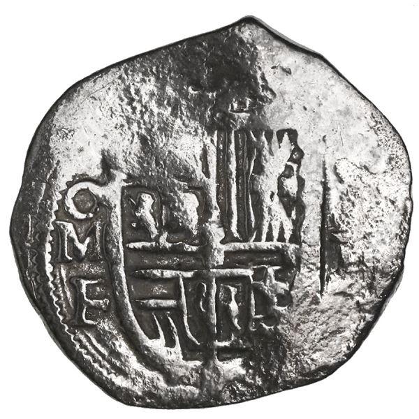 Mexico City, Mexico, cob 1 real, Philip II, assayer F below mintmark oM to left, Grade 1.