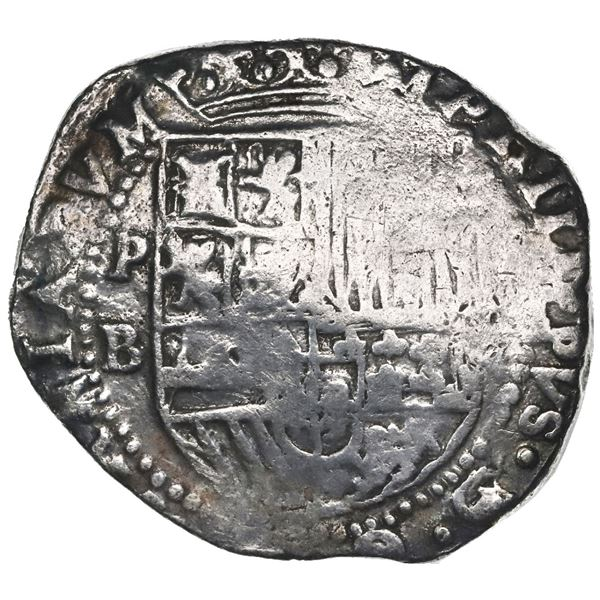 Potosi, Bolivia, cob 8 reales, Philip II, assayer B (4th period), Grade 1.