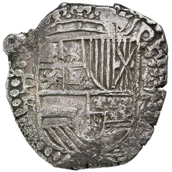 Potosi, Bolivia, cob 8 reales, Philip III, assayer R (curved leg), Grade 2.