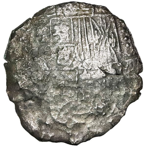 Potosi, Bolivia, cob 8 reales, 1618, assayer not visible, date at 7 o'clock, Grade 3.