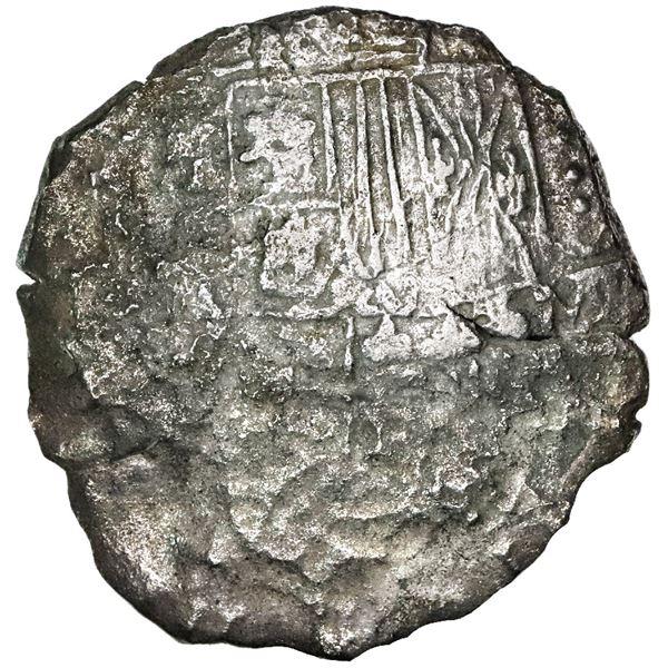 Potosi, Bolivia, cob 8 reales, 1618, assayer not visible, date at 7 o'clock, Grade 3.