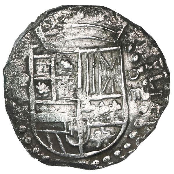 Potosi, Bolivia, cob 8 reales, Philip III, assayer T, quadrants of cross transposed, Grade 1 (no Gra