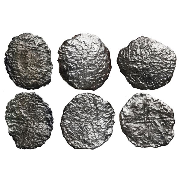 Lot of three Potosi, Bolivia, cob 8 reales, Philip III, assayers not visible, Grade 4.