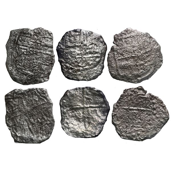 Lot of three Potosi, Bolivia, cob 4 reales, Philip III, assayers not visible, Grade 4.