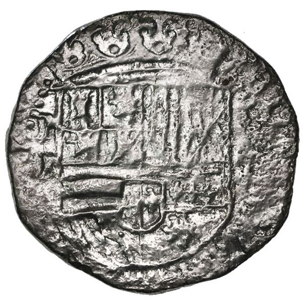 Potosi, Bolivia, cob 2 reales, Philip II, assayer B (2nd period), Grade 2.