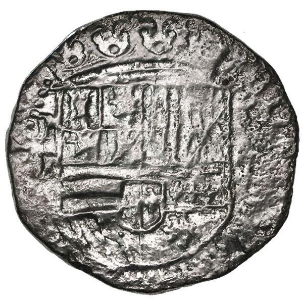 Potosi, Bolivia, cob 2 reales, Philip II, assayer B (2nd period), Grade 2.