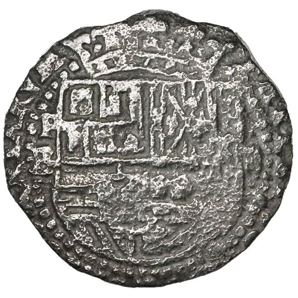 Potosi, Bolivia, cob 2 reales, Philip II, assayer B (5th period), border of x's on reverse, Grade 2.