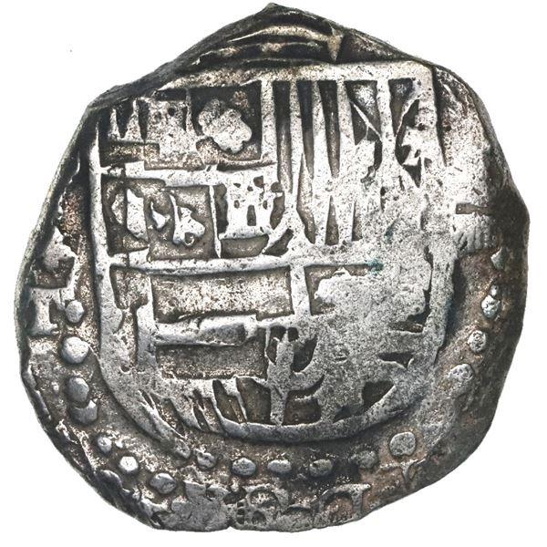 Potosi, Bolivia, cob 8 reales, Philip III, assayer T, Grade 1.