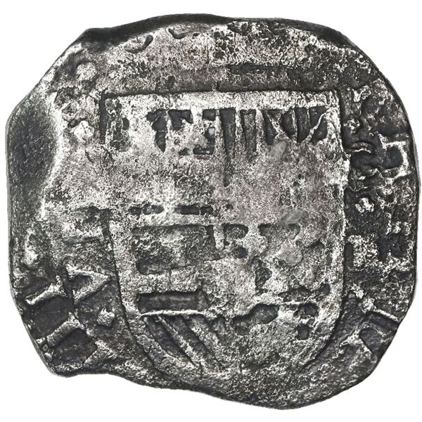 Cartagena, Colombia, cob 8 reales, (1)63(?), assayer E below mintmark C to right, rare.