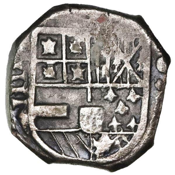 Cartagena, Colombia, cob 4 reales, Philip IV, assayer E below mintmark C to right, rare.