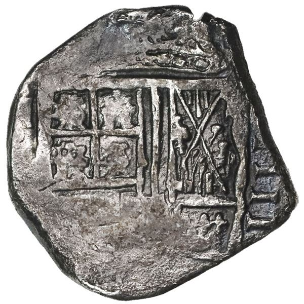 Bogota, Colombia, cob 4 reales, Philip IV, assayer not visible, lions and castles transposed in cros