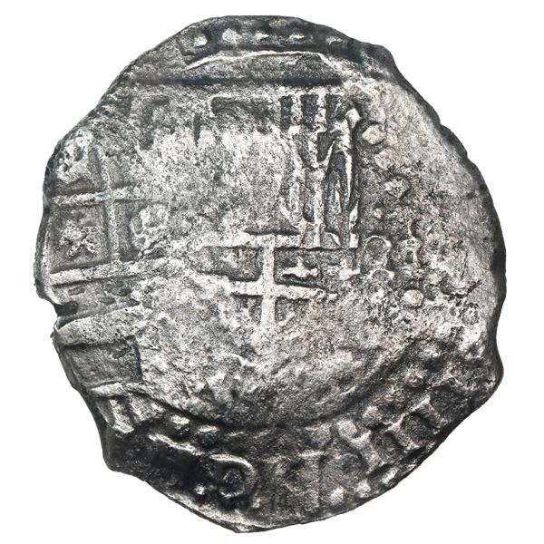 Potosi, Bolivia, cob 8 reales, 1649(Z or O), with arms countermark on cross.