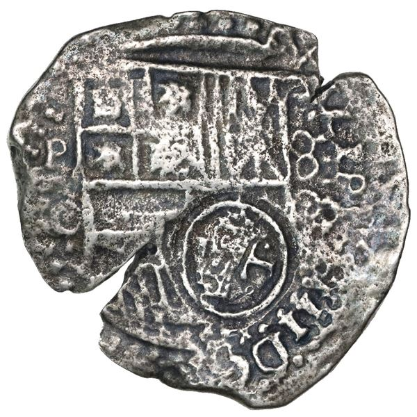 Potosi, Bolivia, cob 8 reales, (16)50O, with crowned-dot-T-dot countermark on shield.