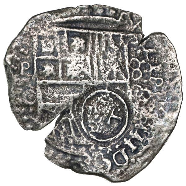 Potosi, Bolivia, cob 8 reales, (16)50O, with crowned-dot-T-dot countermark on shield.