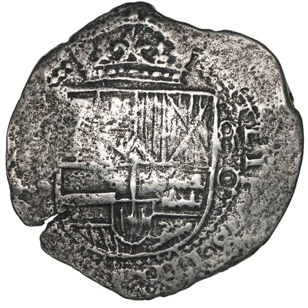 Potosi, Bolivia, cob 8 reales, Philip IV, assayer O (1649-51), with crowned-L countermark on cross.