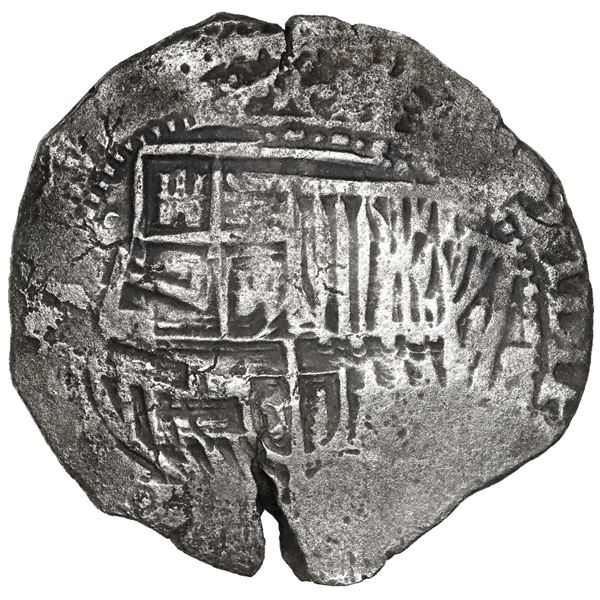 Potosi, Bolivia, cob 8 reales, 165(1-2)(O or E), with crowned-O countermark on cross.