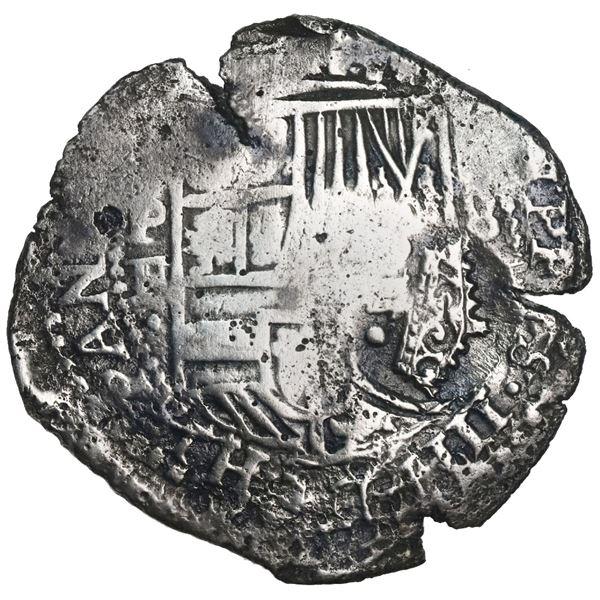 Potosi, Bolivia, cob 8 reales, Philip IV, assayer E (1651-2), with two countermarks (very rare): cro