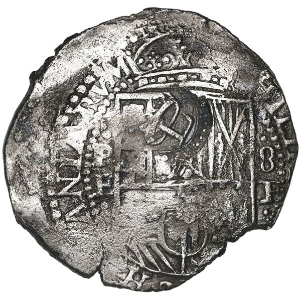 Potosi, Bolivia, cob 8 reales, 165(1-2)E, with crowned-L countermark on shield (very rare thus).