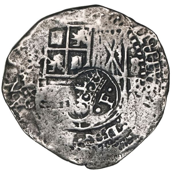 Potosi, Bolivia, cob 8 reales, Philip IV, assayer E (1651-2), with crowned-dot-F-dot countermark (tw