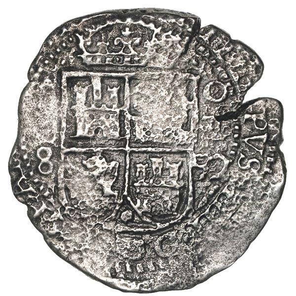 Potosi, Bolivia, cob 8 reales, 1652E, Transitional Type III/A, rare.