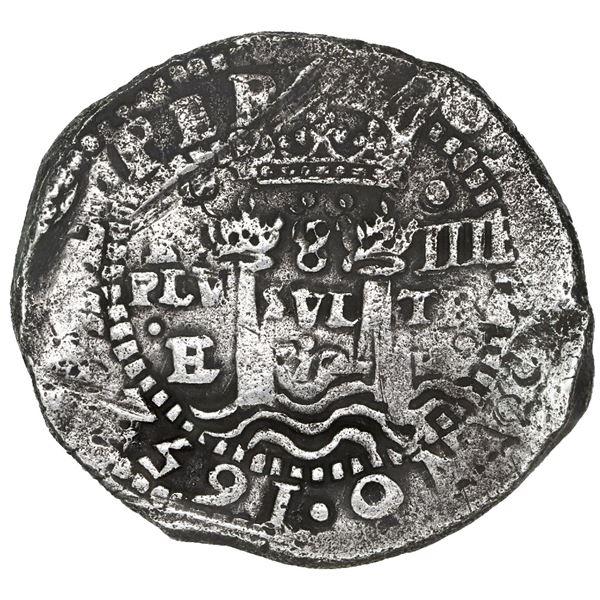 Potosi, Bolivia, cob 8 reales, (1652)E, Transitional Type V/A.
