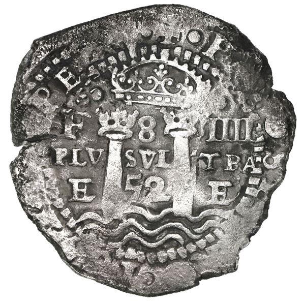 Potosi, Bolivia, cob 8 reales, 1652E, Transitional Type V/A.