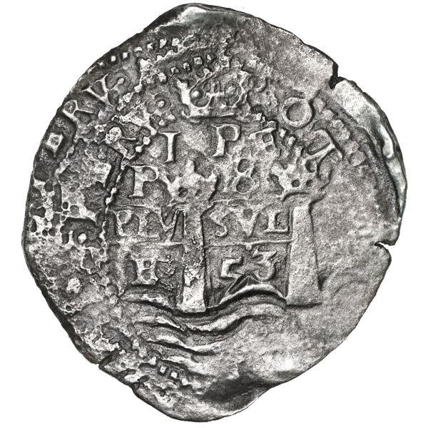 Potosi, Bolivia, cob 8 reales, 1653E, 1-PH-6 at top, rare.