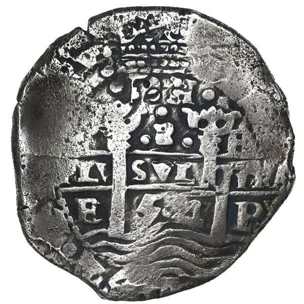 Potosi, Bolivia, cob 8 reales, 1654E, dot-PH-dot at top, denomination 8 above cross.