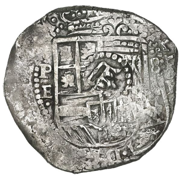 Potosi, Bolivia, cob 8 reales, 1651E, modern 5, with crown-alone (common variety) countermark on shi