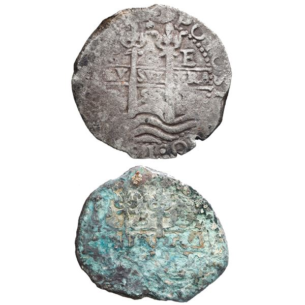 """German promotional set of two Potosi, Bolivia, cob 8 reales (one 1658E, the other an encrusted """"gree"""