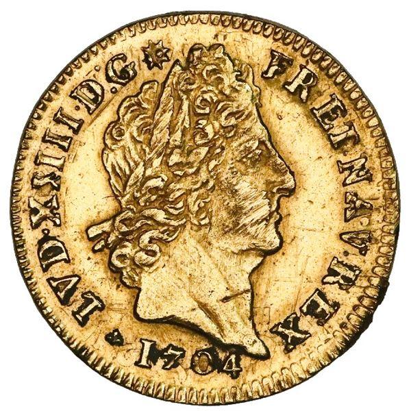 France (Bordeaux mint), gold louis d'or, Louis XIV, 1704-K.