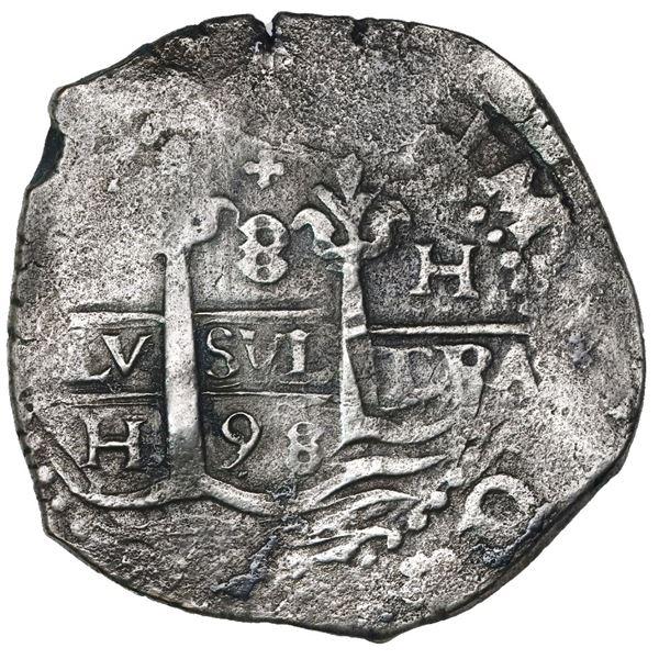 Lima, Peru, cob 8 reales, 1698H.