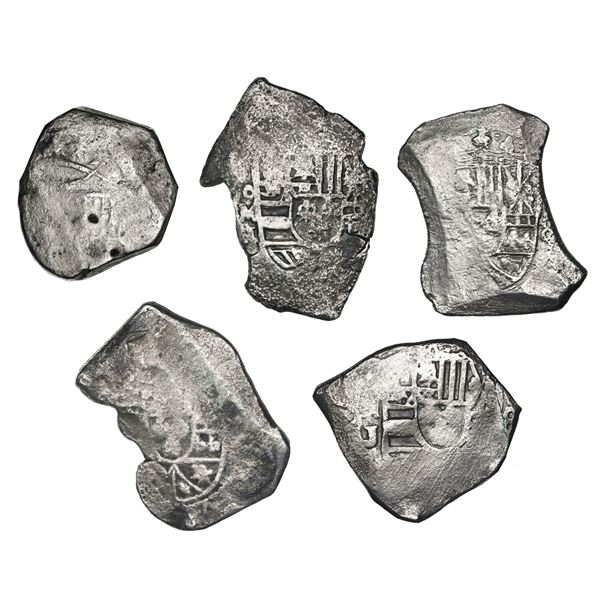 Lot of five Mexico City, Mexico, cob 8 reales, Charles II and Philip V, some with assayer J visible,